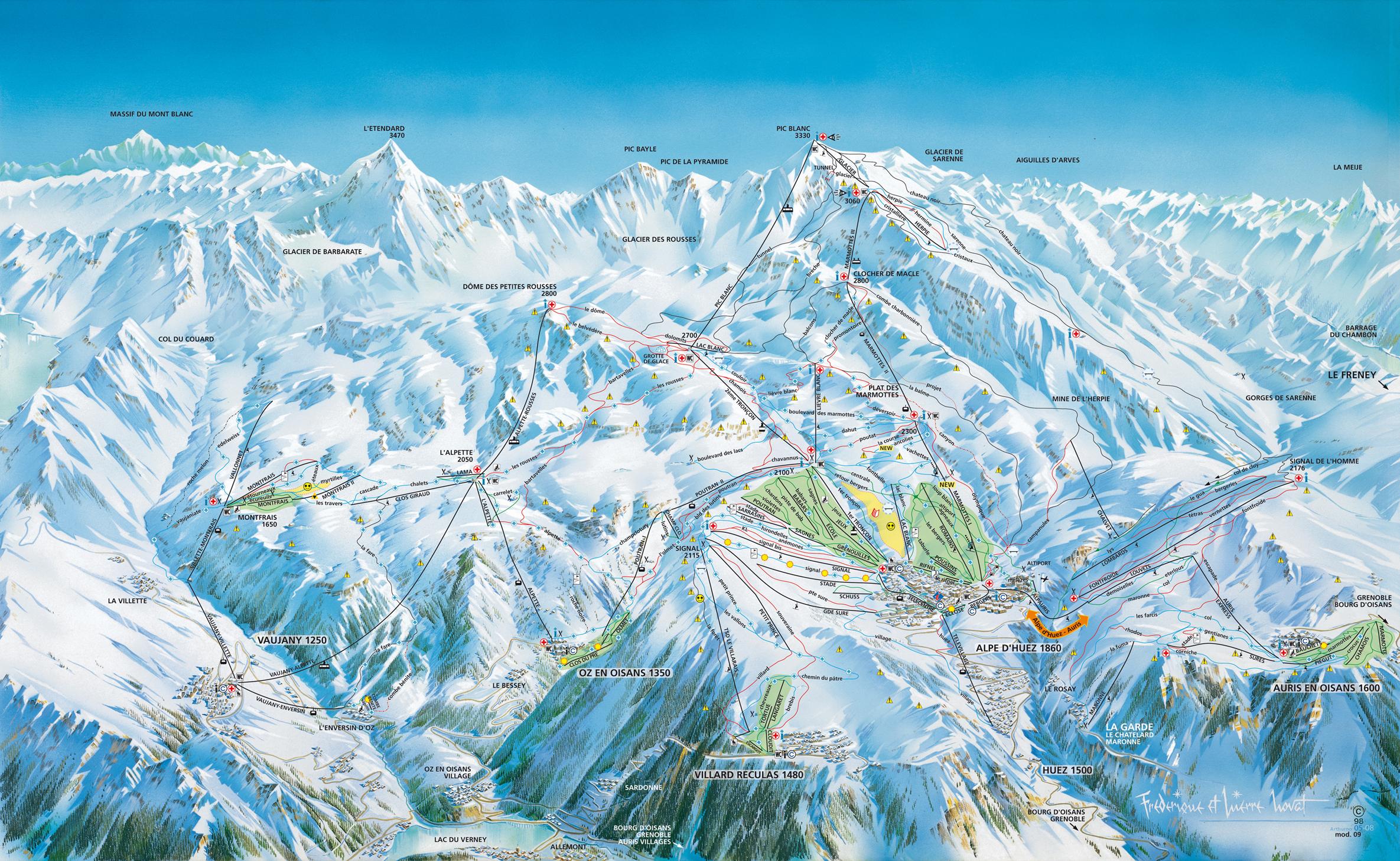 Domaine skiable alpin ski nordique vaujany plan des pistes vaujany planeteski - Office du tourisme alpe d huez ...