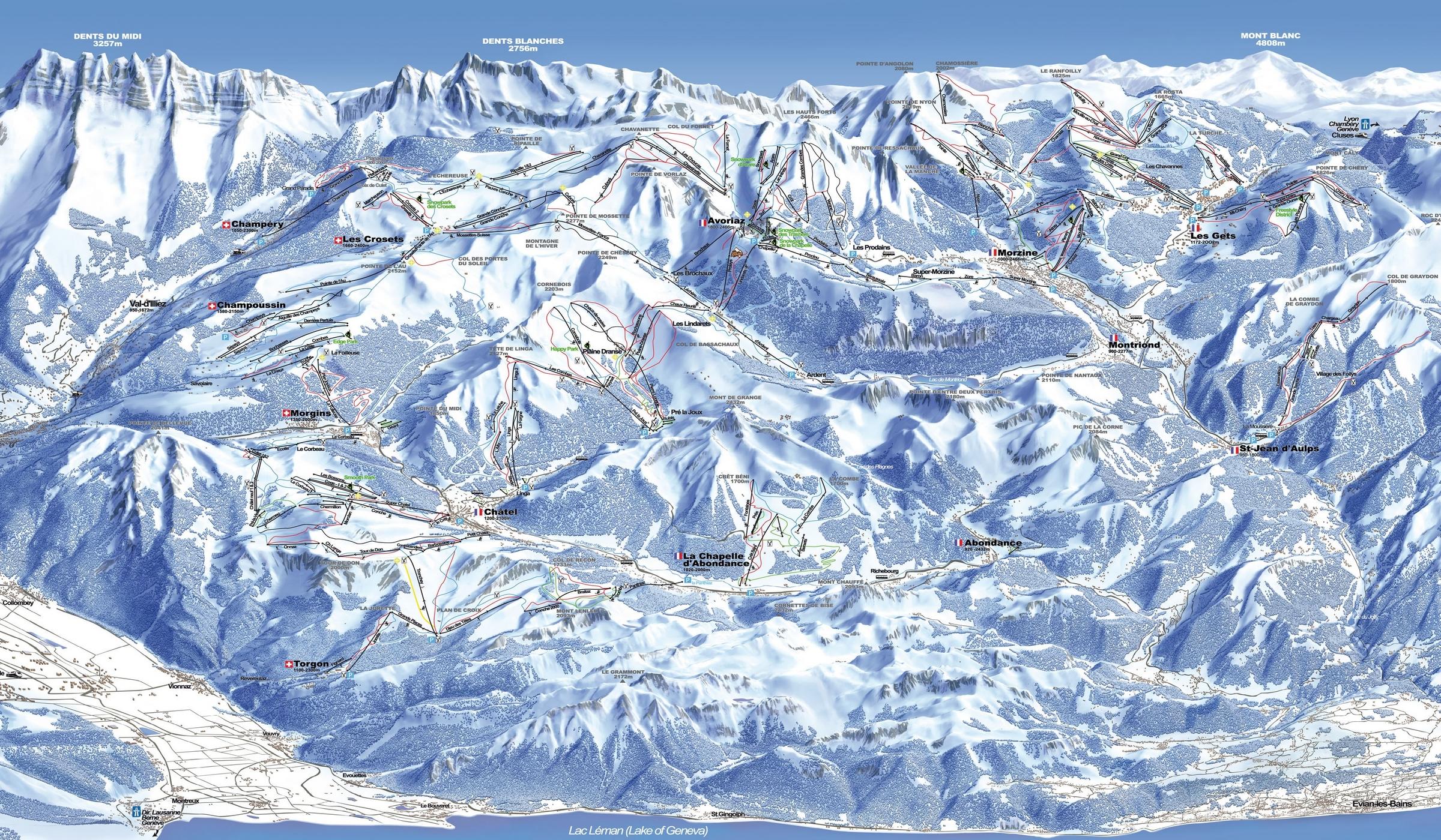 Domaine skiable alpin ski nordique morzine plan des pistes morzine planeteski - Office de tourisme de morzine ...