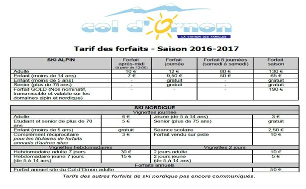 Tarifs Col d'Ornon